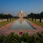 Empty Distant Taj Mahal Reflection in Fountain Flowers — Stock Photo #11899406