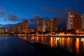 Waikiki Beach Blue Hour Dusk Oahu Hawaii — Stock Photo