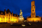 Statue Center Old City Square Bruges Belfry — Stock Photo
