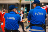 European Police Blue Uniform Backs Two — Stock Photo
