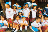 Young Asian Thai Children Uniform Watch Parade — Stock Photo