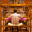 Weaver Using Hand Loom Making Sari — Zdjęcie stockowe