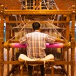 Stock Photo: Weaver Using Hand Loom Making Sari