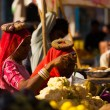 Stock Photo: IndiWomen Shopping Market Vegetables