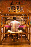 Weaver Using Hand Loom Making Sari — Stock Photo