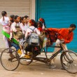 Stock Photo: School Girls Bus Transportation Cycle Rickshaw India