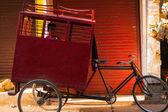 Młody chłopak szkoła transport cyklu riksza — Zdjęcie stockowe
