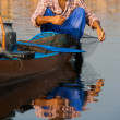 Kashmir Dal Lake Fisherman Net Fishing — Stock Photo