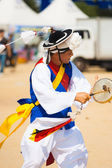 Korean Traditional Drum Man Spinning Tassle Hat — Stock Photo