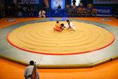 Koreański zapasach zawodnik mma antenowe pierścień start — Zdjęcie stockowe