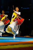 Korean Janggu Drum Show Jump Traditional Dress — Stock Photo