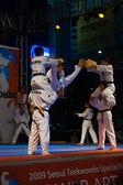 Taekwondo Double Kick Mid-Air Breaking Boards — Stock Photo