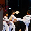 Young Korean Boys Taekwondo Kicking Demonstration - Stock Photo