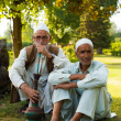 Kashmiri Men Sitting Outdoor Park Shisha Smoking — Stock Photo