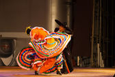 Jalisco Mexican Hat Dancing Swirling Orange Dress — Stock Photo