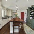 Kitchen with wood top island - Stock Photo