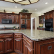 Kitchen with large center island - Stock Photo
