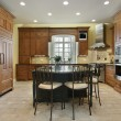 Kitchen with center island - Stock Photo