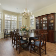Diningroom with cream colored walls - Stock Photo