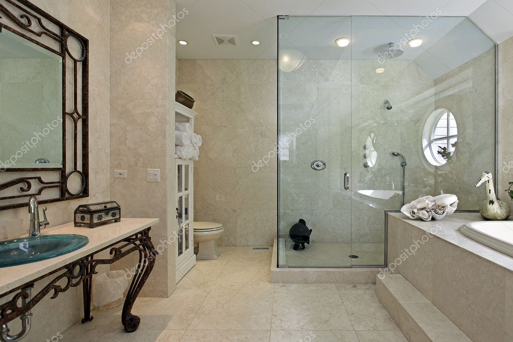 master bath with large step in shower stock photo e z step bathtub to walk in shower conversion