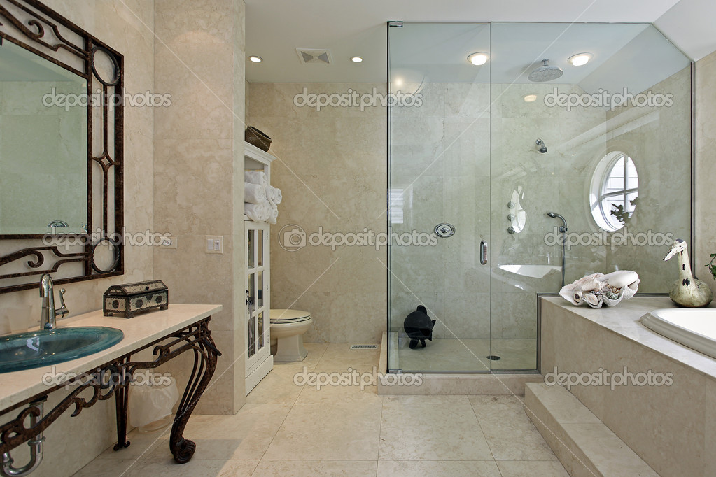 master bath with large step in shower stock photo