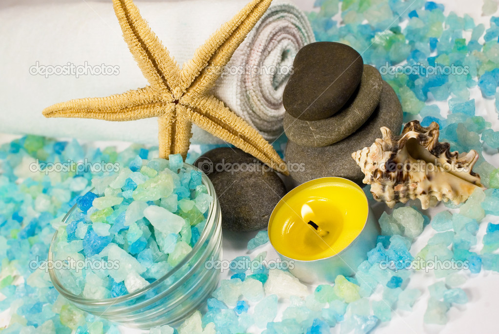Blue seasalt, stones and candles for a spa — Stock Photo #11010075