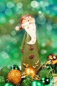 Santa claus i bombki — Zdjęcie stockowe