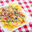 Cheesy Nachos on Red Checkered Tablecloth — Stock Photo #11815828