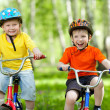 Happy boys friends on bicycle in green park — Stock Photo