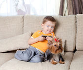 Little boy with loving dog york — Stock Photo