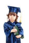Cute child girl in academician clothes with book — Stok fotoğraf