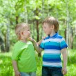 Two happy friends boys outdoors — Stock Photo