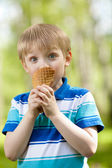 Funny child boy eating a tasty ice cream outdoors — Stock Photo