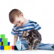 Smiling kid looking at funny kitten — Stock Photo #11175279