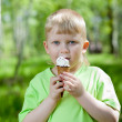 Young boy eating a tasty ice cream outdoors — Stock Photo
