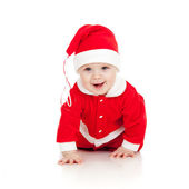 Funny crawling Santa claus baby boy — Stock Photo
