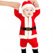 First steps of Santa claus kid — Stock Photo #12084626