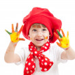 Cheerful girl child with painted hands, isolated over white — Stock Photo