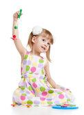 Drôle petit enfant jouant avec des jouets, isolés sur blanc — Photo