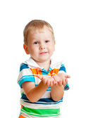 Little child boy reaching his hands out, isolated on white — Stock Photo