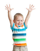 Child boy with hands up isolated on white background — Stock Photo