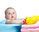 Baby kid taking bath and playing — Photo