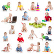 Set of crawling babies or toddlers with toys isolated on white - Stock Photo