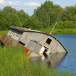 Stock Photo: Landscape with drifting barge