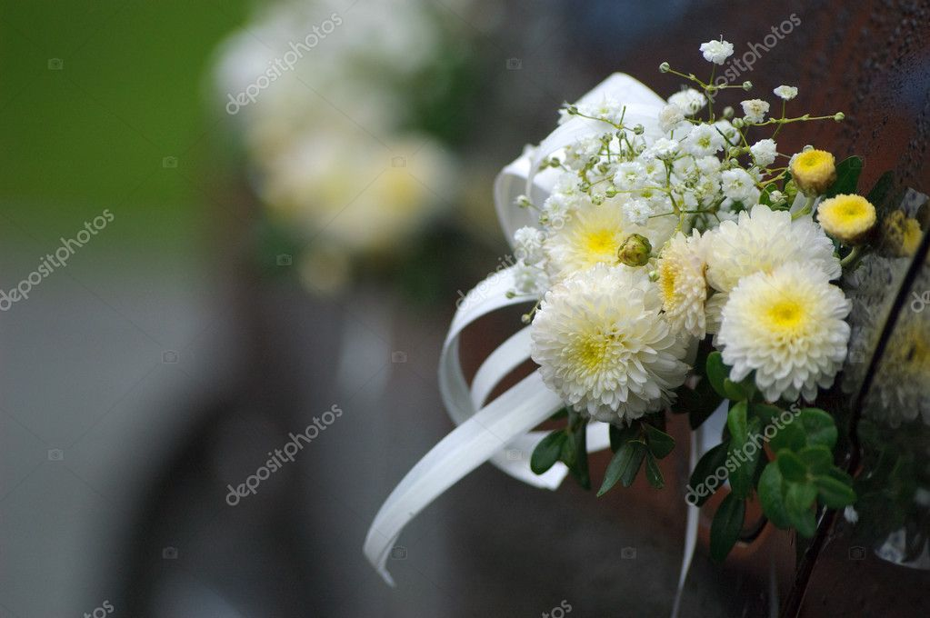 Bright flower decoration on dark wedding car  Stock Photo #11092887