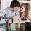 helping with homework — Stock Photo