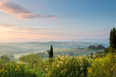 First sunlight in Tuscan hills — Stock Photo