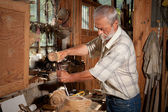 Vintage shed and carpenter — Stock Photo