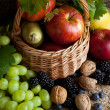 Autumn foods in a basket — Stock Photo