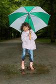Umbrella dance — Stock Photo